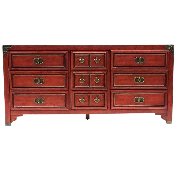 Mid Century Chinoiserie Dresser Asian Credenza Brass Hardware - Image 1 of 10