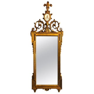Gilt Carved Wall, Console or Table Mirror With High Open Fleur-De-Lis Pediment For Sale