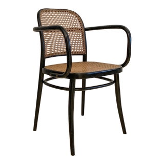 Vintage Josef Hoffmann the Prague Arm Chair No. 811 Bentwood by Ligna Czechoslovakia Black For Sale