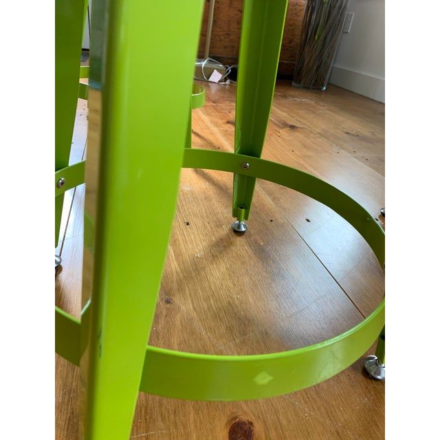 Crate & Barrel Kid's Bright Green Metal Stools- Set of 4 For Sale In Providence - Image 6 of 7