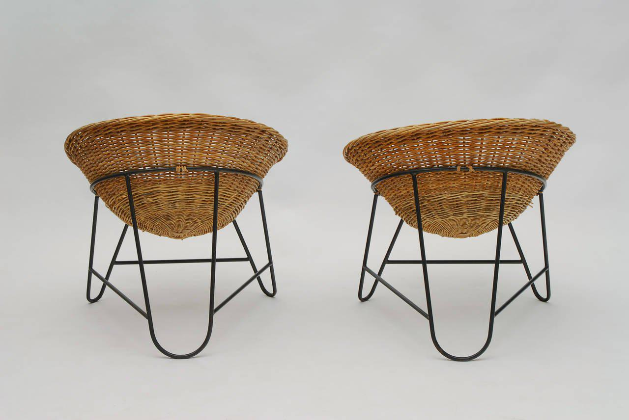 Set Of Two French Wicker Chairs, Circa 1950   Image 3 Of 4