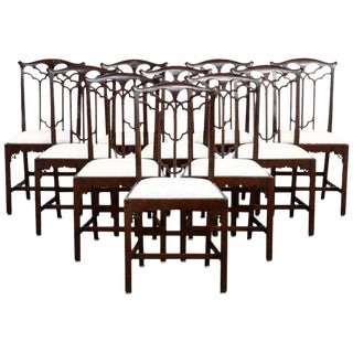 English Victorian Gothic Revival Dining Chairs - Set of 12 For Sale