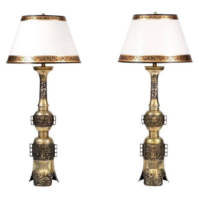 19th Century Chinese Bronze Altar Stick Lamps - a Pair For Sale