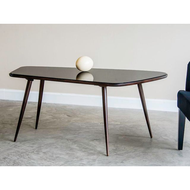 French Asymmetrical Vintage French Coffee Table, Rosewood and Black Glass circa 1950 For Sale - Image 3 of 5