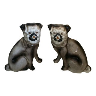 Dresden Style Ceramic Pugs - Pair For Sale