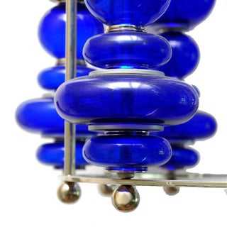 Modern Cobalt Blue Blown Art Glass Chandelier Preview
