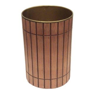 Mid-Century Wood Metal Lined Trash Can