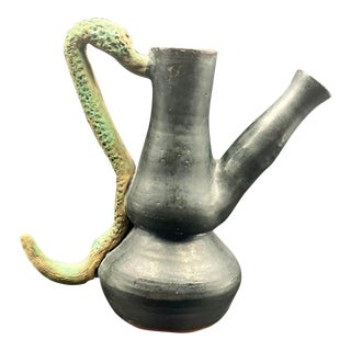 Late 20th Century Folk Art Snake Pottery Pitcher For Sale