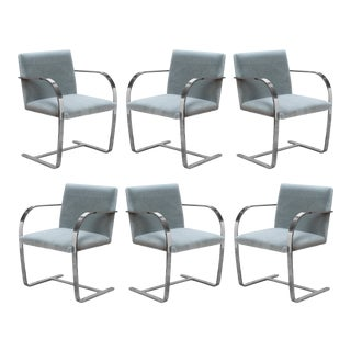 Brno Flat-Bar Chairs in Fog Mohair by Ludwig Mies Van Der Rohe for Knoll - Set of 6 For Sale