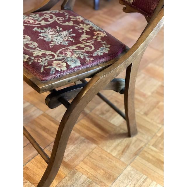 Metal 1900s Antique Victorian Tapestry Folding Chair For Sale - Image 7 of 13