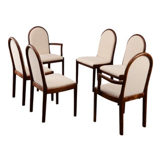 1990s Modern Mahogany Dining Chairs With Ivory/Cream Fabric - Set of 6 For Sale