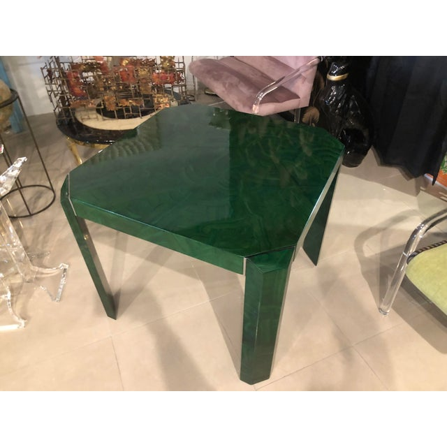 Vintage Hollywood Regency Green Faux Malachite Chrome Dining Game Table For Sale - Image 4 of 11