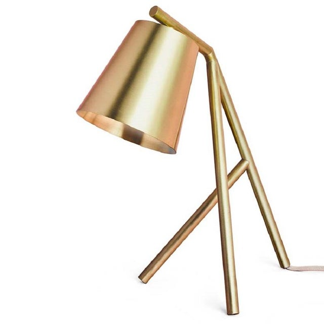 Table Lamp Brushed and Lacquered Brass For Sale In Greensboro - Image 6 of 6