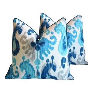 "Designer Aqua & Blue Ikat & Velvet Feather/Down Pillows 25"" Square - Pair For Sale"