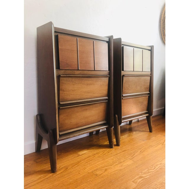 Pair of Mid Century Walnut Nightstands For Sale - Image 12 of 12