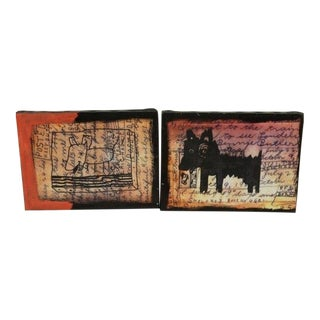 1990s Vintage Acrylic Paintings by D. Wray- A Pair For Sale