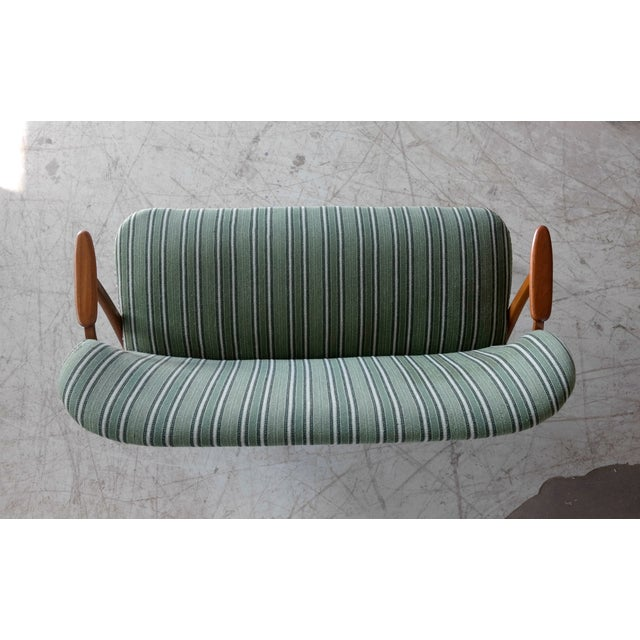 Danish Midcentury Sofa with Teak Armrests in the Style of Kurt Olsen for Bramin For Sale - Image 9 of 10