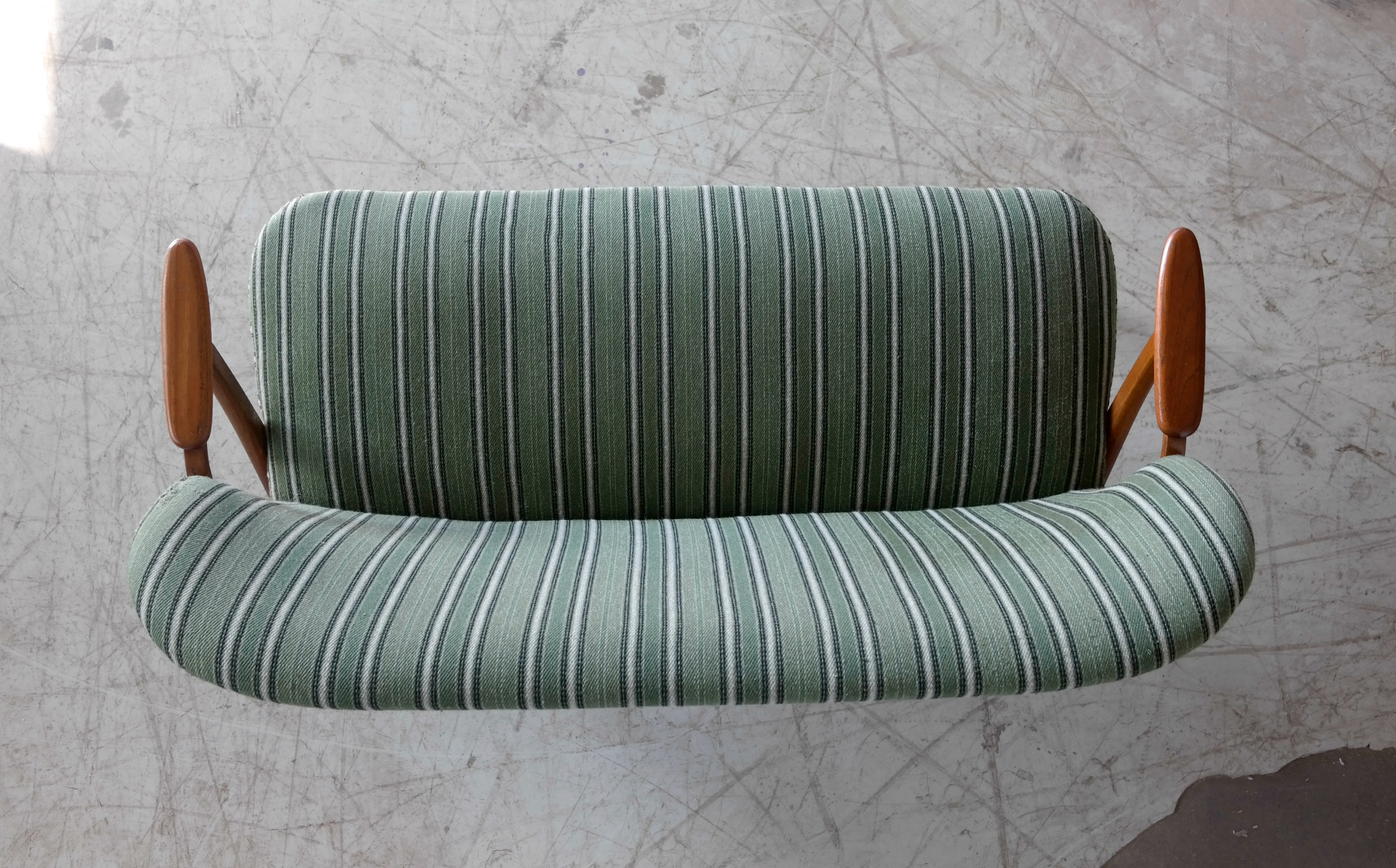 Danish Midcentury Sofa With Teak Armrests In The Style Of Kurt Olsen For  Bramin   Image