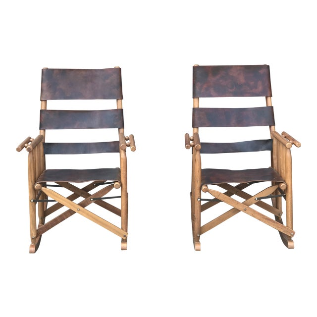 Campaign Style Folding Leather Rockers - a Pair For Sale