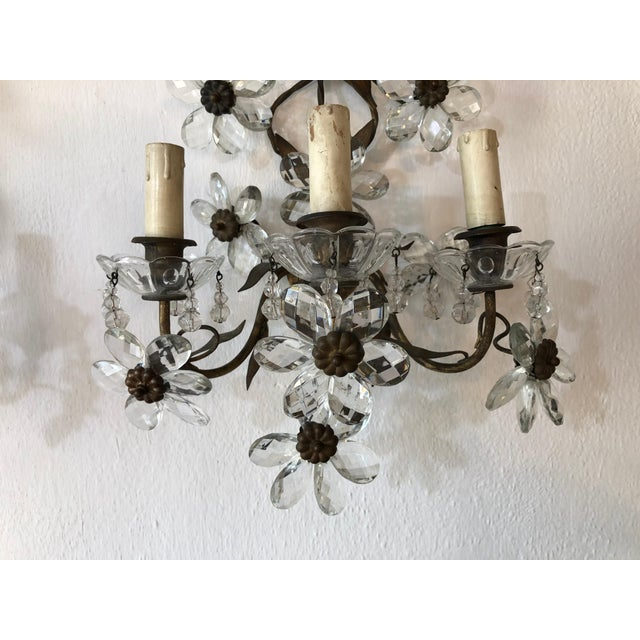Huge Clear Flower Maison Bagues Style Three-Light Sconces For Sale - Image 4 of 10