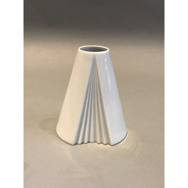 A beautiful white fully glazed cone-shaped porcelain vase Plissee from the 1980s, designed by Ambrogio Pozzi in 1985,...