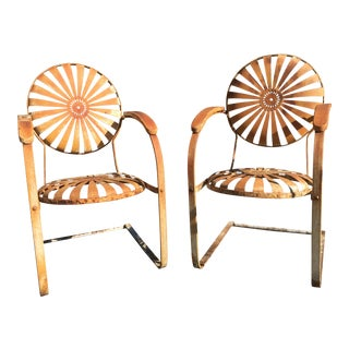 1930's French Art Deco Francois Carre Sunburst Cantilevered Iron Chairs - A Pair