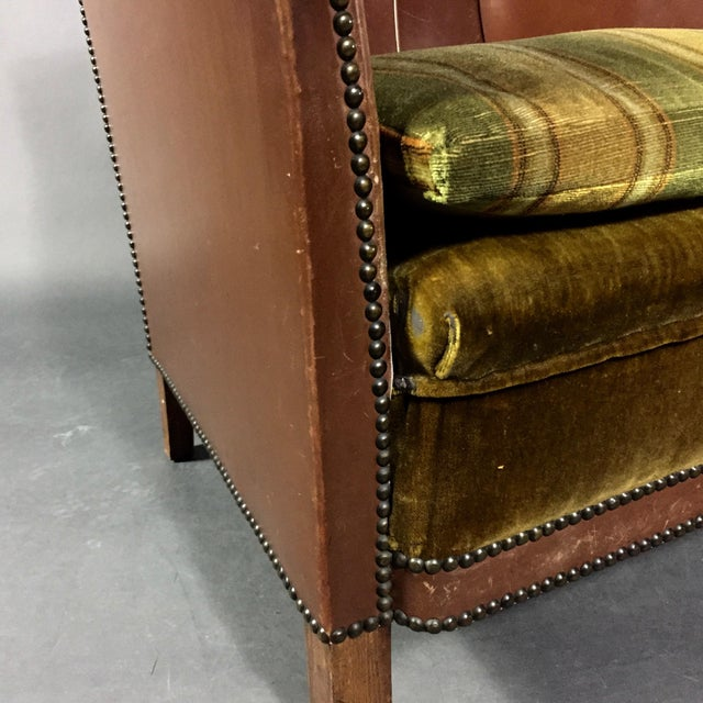 1940s Swedish Square-Back Leather Club Chair For Sale In New York - Image 6 of 11