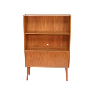Mid Century Danish Teak Bookcase With Drop Down Door