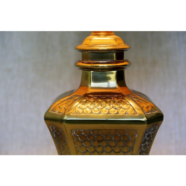 Asian Brass Fish Scale Design Pagoda Lamp For Sale - Image 3 of 10
