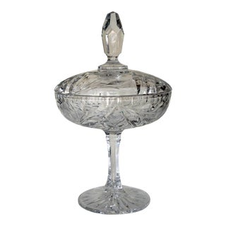 Crystal Footed Compote/Candy Dish With Lid For Sale