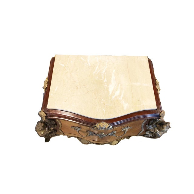 French 1920's French Louis XV Bombé Marquetry Chest For Sale - Image 3 of 4