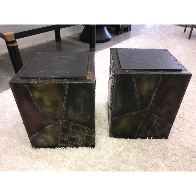 Signed Paul Evans Sculpted Steel Side Tables - Pair For Sale In Miami - Image 6 of 11