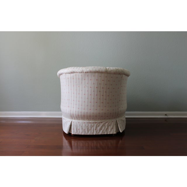 Upholstered Tufted Barrel Chairs - A Pair For Sale - Image 5 of 11