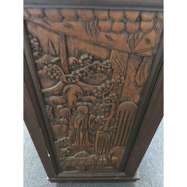 Asian Asian Teak Marble Top Fold Out Bar For Sale - Image 3 of 11