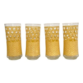 Bamboo Cane Motif Glasses, S/4 For Sale