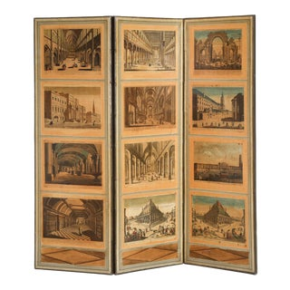 French Directoire Style Folding Screen with European Architectural Scenes For Sale