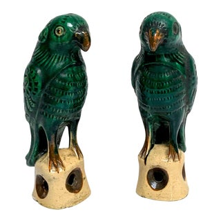 Pair of Chinese Export Porcelain Green Glazed Parrots For Sale