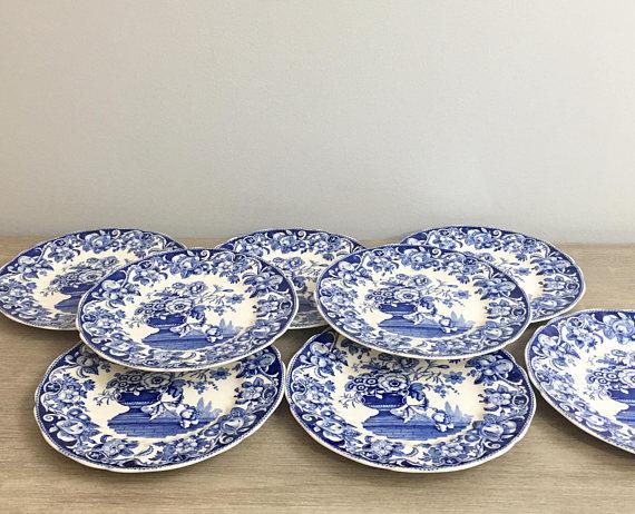 1930\u0027s Royal Doulton Salad Plates Pomeroy Blue Design - Set of 8 - Image 6 of  sc 1 st  Chairish & 1930\u0027s Royal Doulton Salad Plates Pomeroy Blue Design - Set of 8 ...