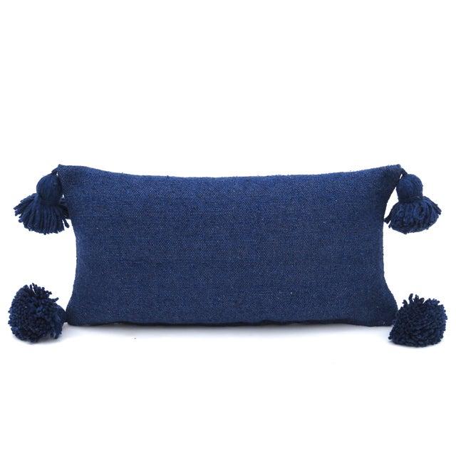 Textile Boho Chic Indigo Cotton Pillow For Sale - Image 7 of 7