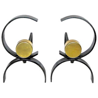 1950s Mid-Century Modern Donald Deskey Iron Andirons - a Pair For Sale