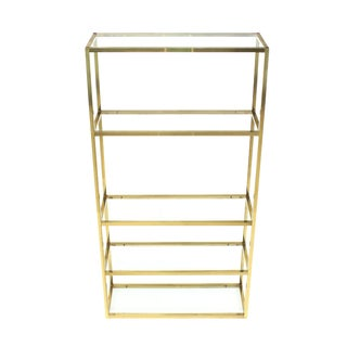 Solid Square Brass Tube Glass five Shelves Etagere Display Fixture For Sale