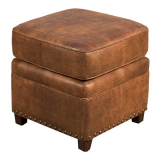 Papa's Footstool in Brown Fabric/Leather For Sale