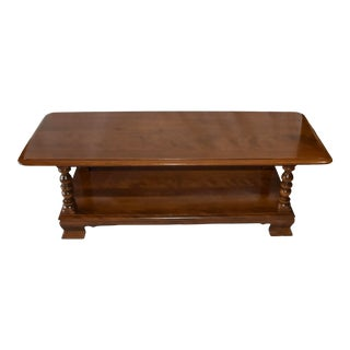 """Late 20th Century Ethan Allen Heirloom Colonial Nutmeg Maple 50"""" Accent Coffee Table For Sale"""