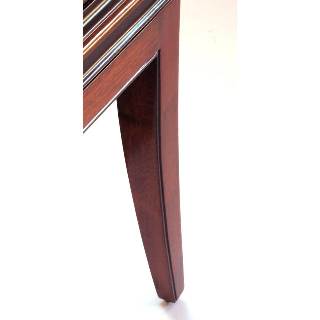 Wood An extremely good quality Tommi Parzinger designed for Charak Modern mid-century mahogany 4-drawer cabinet/chest with ebonized highlights For Sale - Image 7 of 7