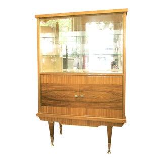 1950s Italian Zebra Wood China Cabinet For Sale