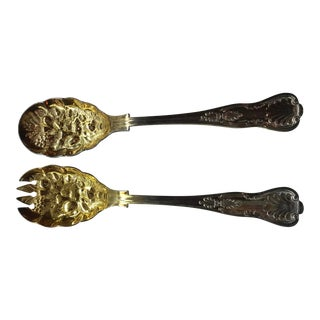 Sheffield Plate Gold Wash Salad Serving Pieces - A Pair For Sale