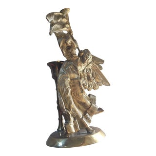 Brass Heavy Angel Cupid Candle Holder