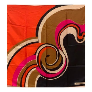 Graphic, Bold, C. 1970's Christian Dior Silk Scarf For Sale