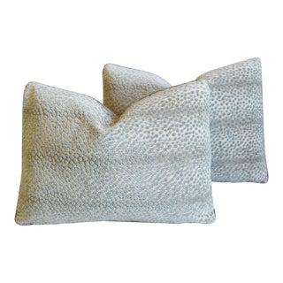 """Schumacher Nakura Velvet Linen Feather/Down Pillows 22"""" X 17"""" - Pair For Sale"""