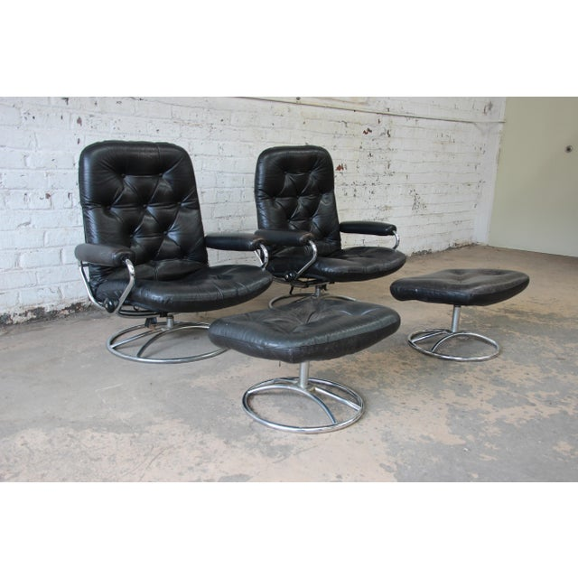 Vintage Black Leather Ekornes Stressless Lounge Chairs & Ottomans - a Pair For Sale - Image 9 of 9
